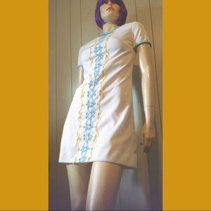 Vtg 60s VICKY VAUGHN JR Embroidered MOD Minidress